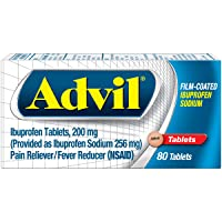 Advil Film Coated Tablets Pain Reliever and Fever Reducer, Ibuprofen 200mg, 80 Count, Fast-Acting Formula for Headache Relief, Toothache Pain Relief and Arthritis Pain Relief