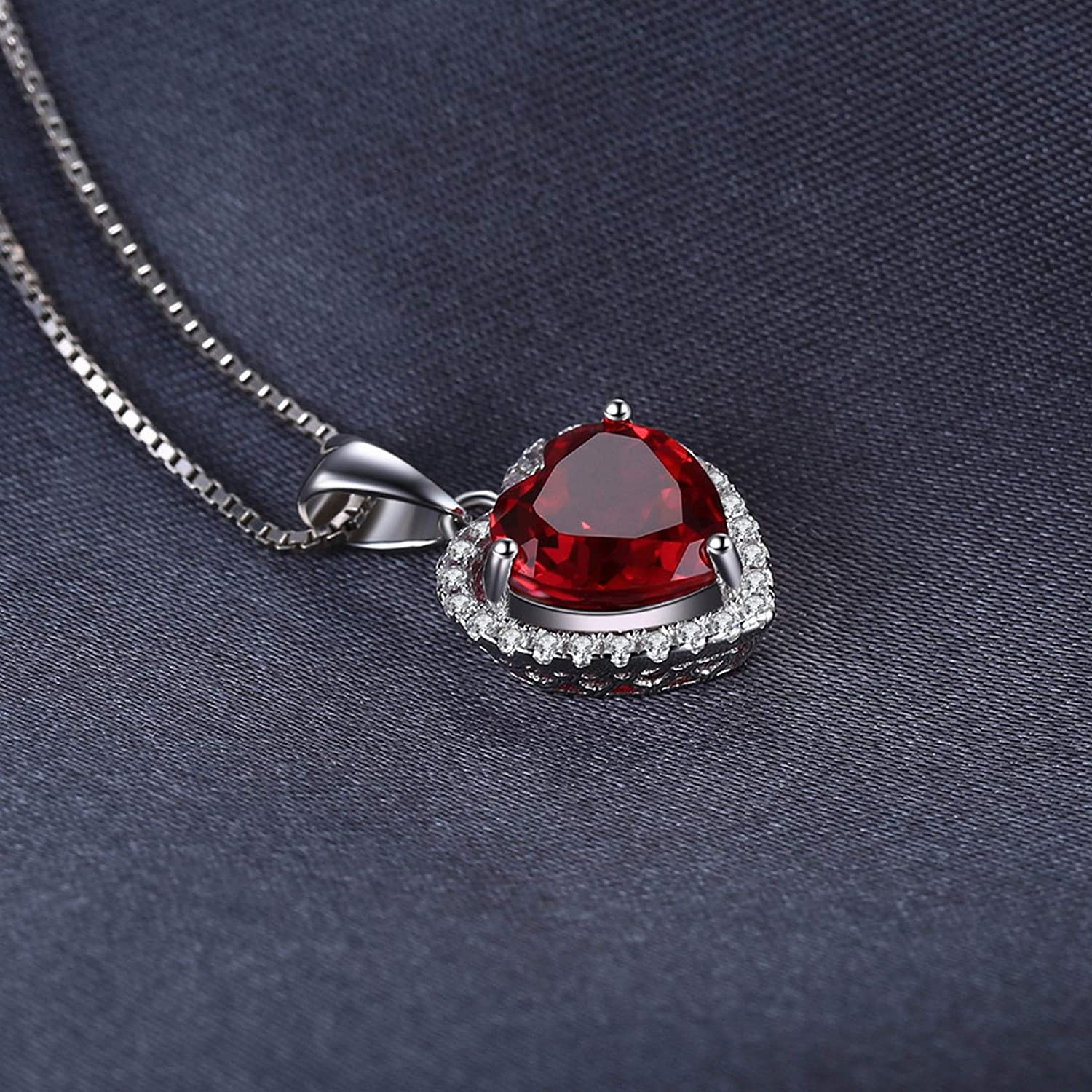 Pendants Necklaces by CS-DB Heart Of Ocean 3.9ct Red Ruby Love Forever Silver Womens Jewelry