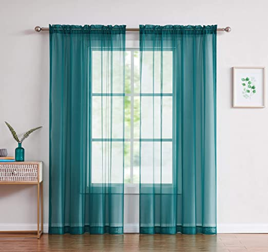 58 by 84-Inch Easy Care Fabrics 2-Piece Sheer Window Curtains Drapes Panel Treatment Sky Blue