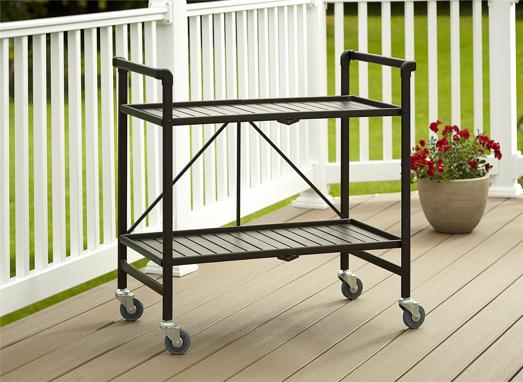 Cosco Indoor/Outdoor Serving Cart, Folding, Brown by Cosco