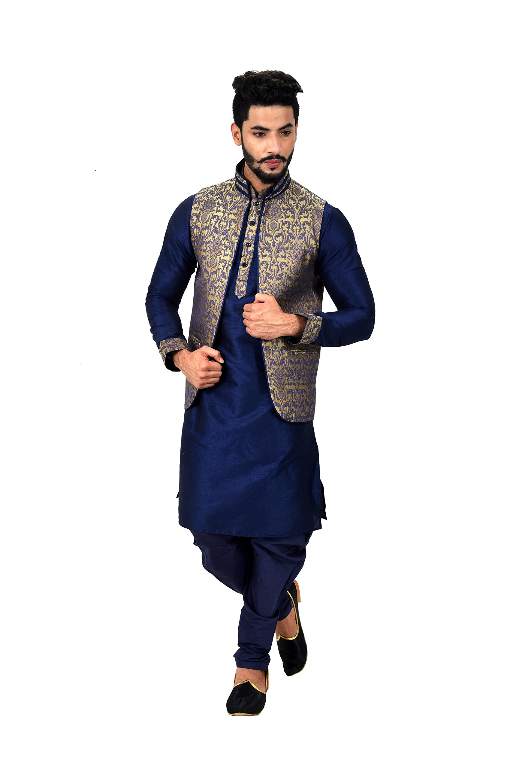 Indian Traditional Silk Navy Blue Sherwani Kurta Set with Multicolour Jacket for Men