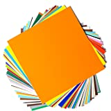 "Permanent Adhesive Backed Vinyl Sheets by EZ Craft USA - 12"" x 12"" - 40 Sheets Assorted Colors Works with Cricut and…"