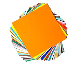 """Permanent Adhesive Backed Vinyl Sheets by EZ Craft USA - 12"""" x 12"""" - 40 Sheets Assorted Colors Works with Cricut and Other Cu"""