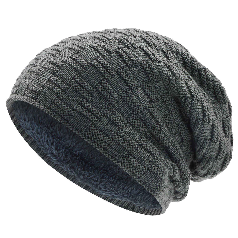 WinCret Berretti in Maglia Teddy Fleece Foderato in Maglia Cappello Invernale con Motivo a Treccia per Uomo e Donna