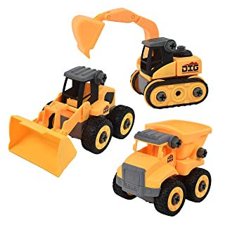 Sunny Days Entertainment Maxx Action Junior Dig Series DIY Take-A-Part Toy Vehicles with Removable Tiers, Chassis, Moving Parts & Utility Toy Screwdriver (Vehicle Style Purchased May Vary)