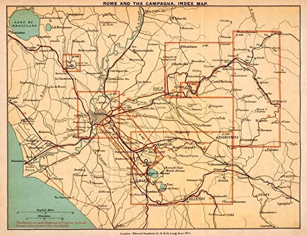 1908 Lithograph Rome Italy Map Tivoli Isola Subiaco Velletri TIber