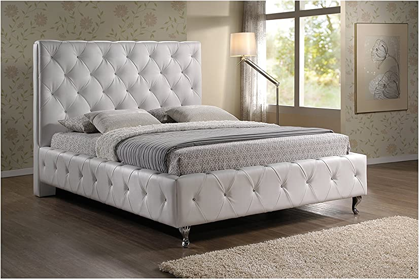 Amazon Com Baxton Studio Stella Crystal Tufted Modern Bed With