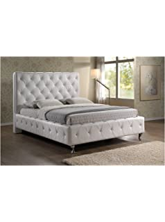 baxton studio stella crystal tufted modern bed with upholstered headboard queen white