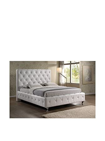 Baxton Studio Stella Crystal Tufted Modern Bed with Upholstered Headboard,  Queen, White