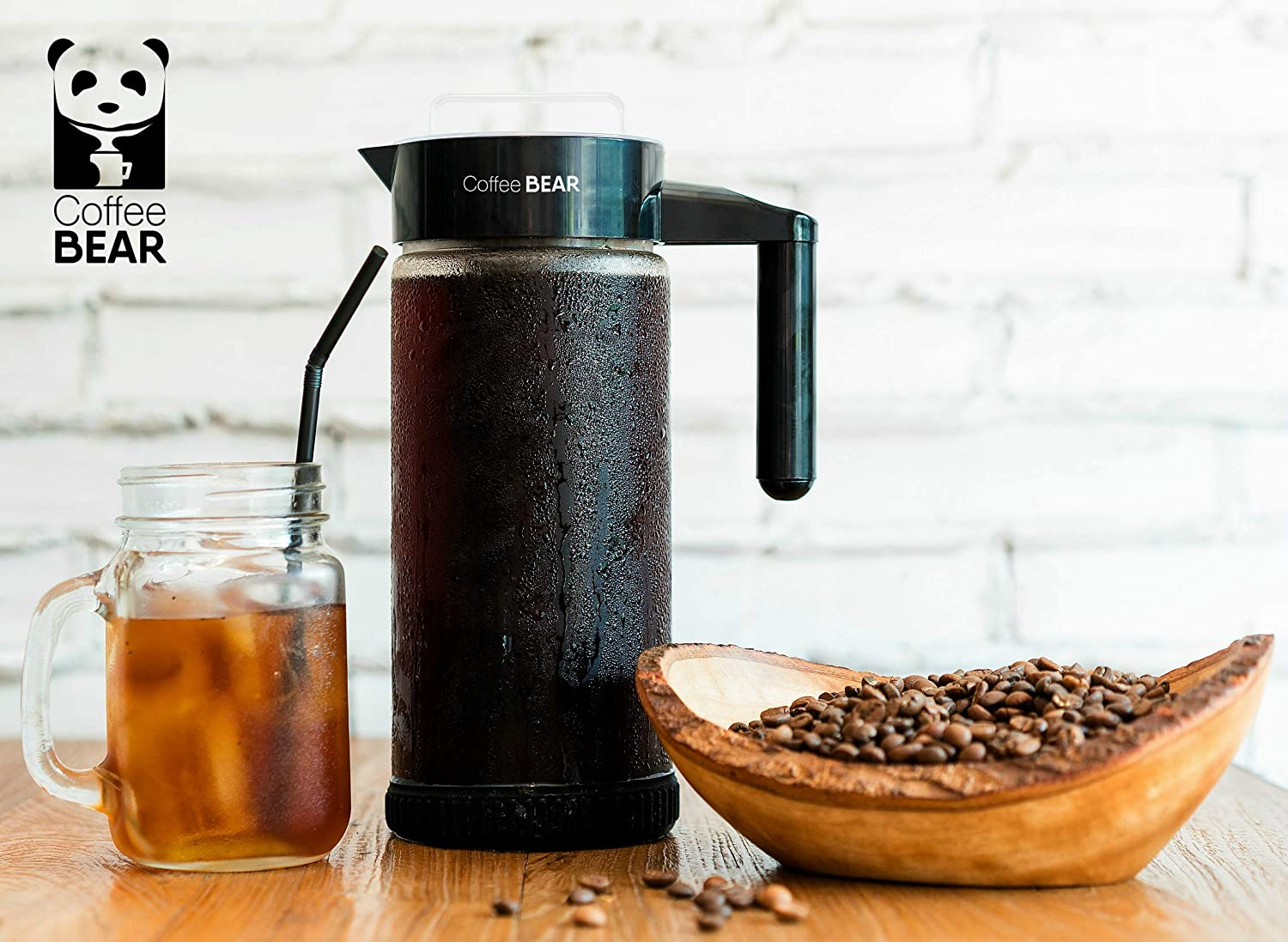 Coffee Bear Cold Brew Maker 1.3L / 44oz   Iced Coffee & Ice Tea Pitcher Brewer