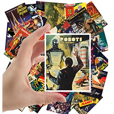 "Large Stickers (24 pcs 2.5""x3.5"") Robots Are Coming Vintage Movie Poster SciFi Space Battle: Toys & Games"