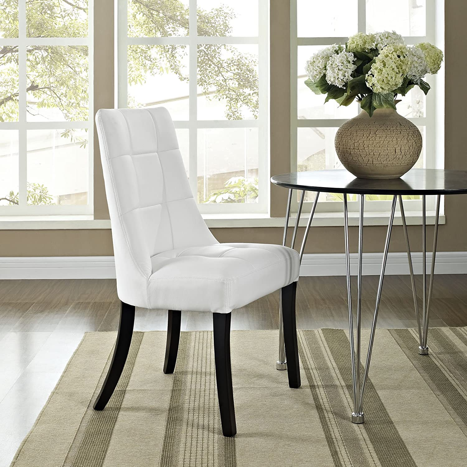 Amazon.com - Modway Noblesse Vinyl Dining Side Chair in White - Chairs