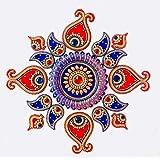Vian creations Handcrafted Decorative Diwali Rangoli Set Multicolour Jewel Stone/Kundan Decoration on Acrylic Base 17 Pieces