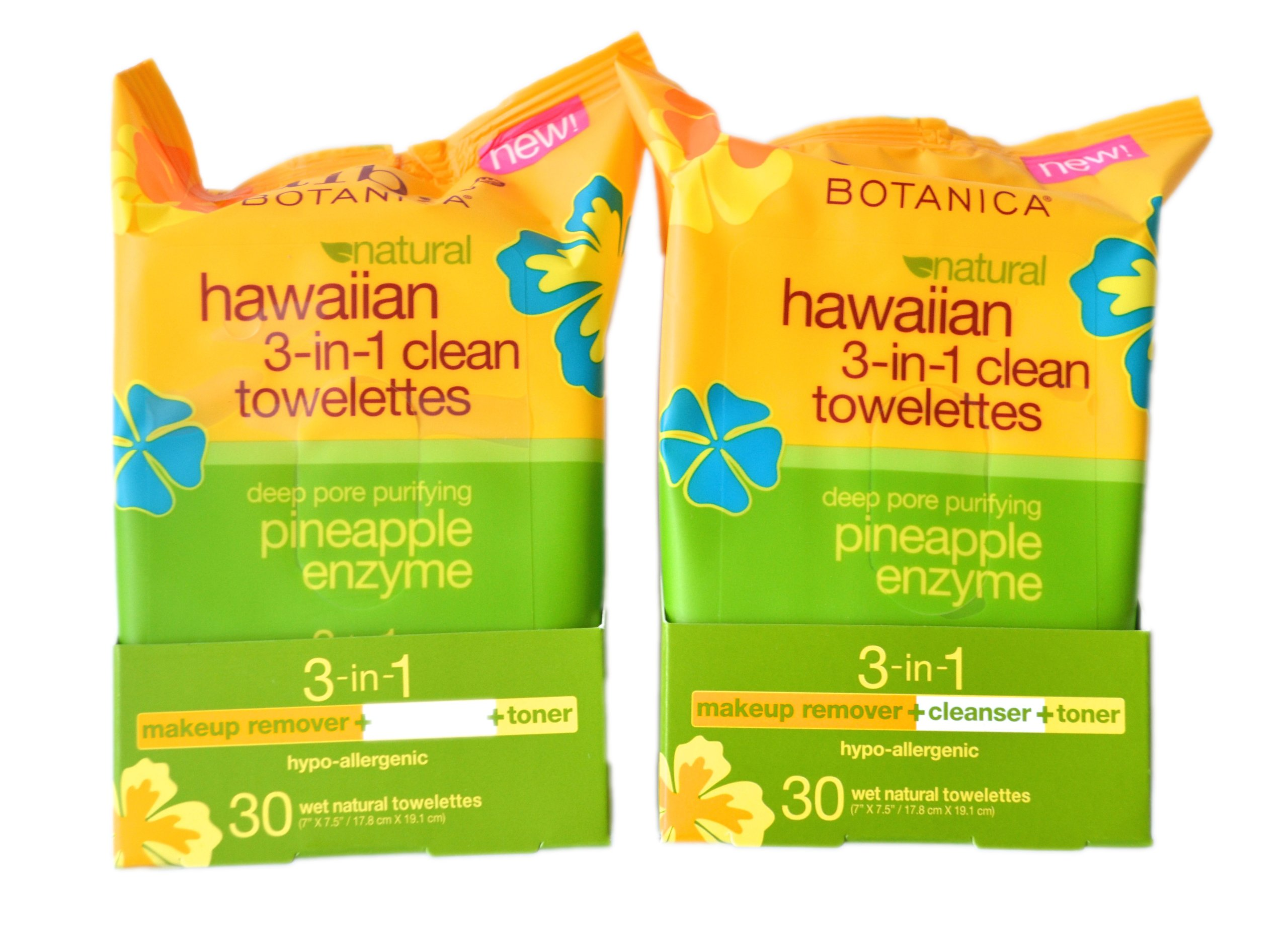 Alba Botanica Hawaiian 3-in-1 Clean Towelettes, 30 Count, Pack of 2