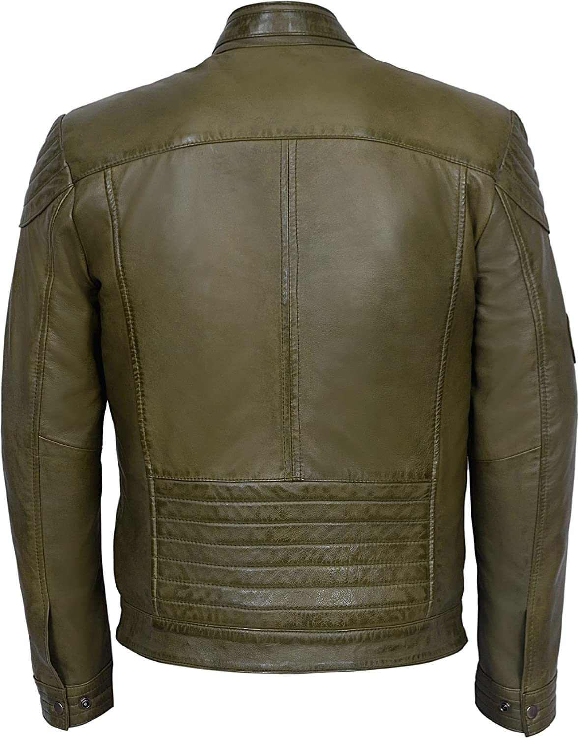 Infinity Mens Casual 100/% Sheepskin Black Nappa Leather Quilted Jacket 5XL