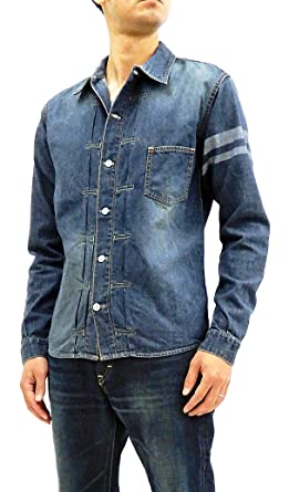 48ba8e690f5 Momotaro Jeans 05-197 Men s Slim fit Faded Denim Shirt Long Sleeve Type1  GTB Japan