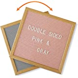 Felt Letter Board Gray and Pink Double Sided with Stand and 600 Letters. 10x10 American Oak Wood Message Board. Pregnancy Announcement Board, Baby Shower, Boy Girl Gender Birth Reveal Sign