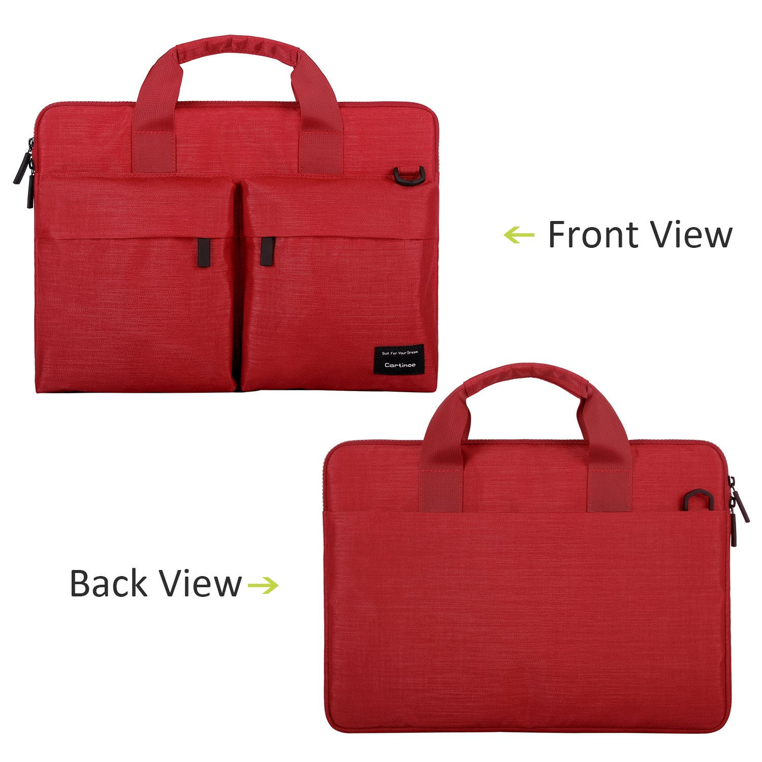 Cartinoe City 14-15 inch Laptop Briefcase Messenger Bag, Professional Business Water Resistant Shoulder bag for Apple 15.4 Inch MacBook Touchbar 15, Lenovo Dell ASUS HP Acer Chromebook 14, Red by Youpeck (Image #2)