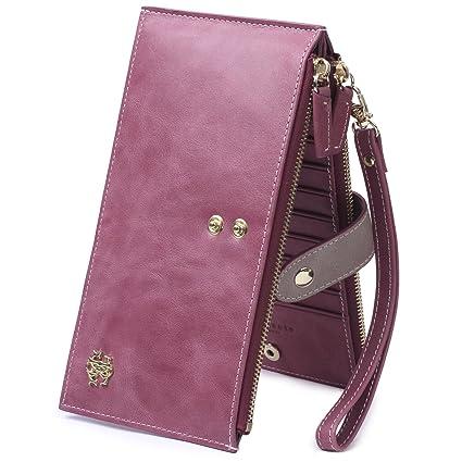 Borgasets - Cartera para mujer mujer, morado (Morado) - BG1099Wax-Purple