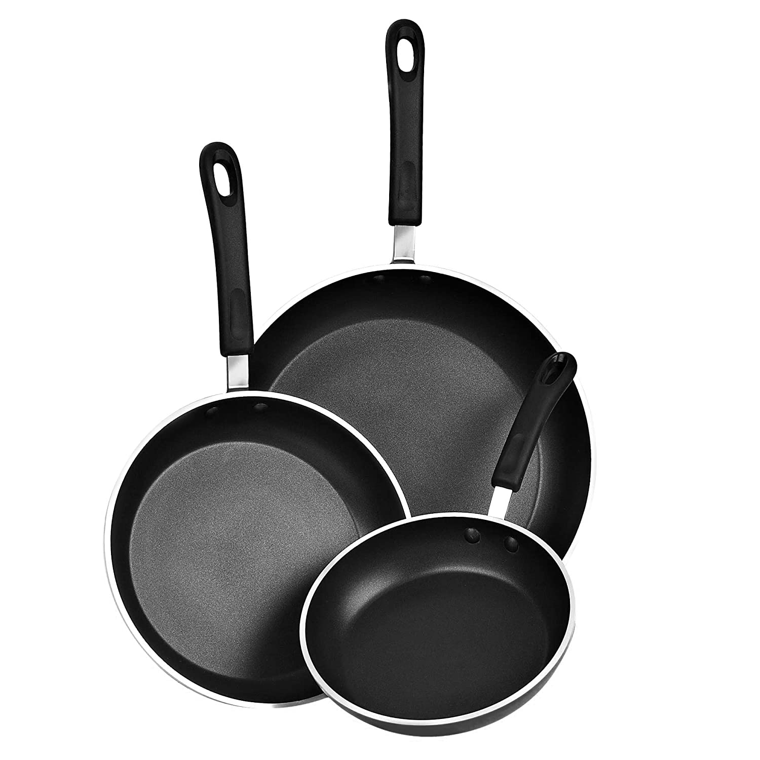Cook N Home 02476 Nonstick, 10,12 inch 3 Piece Frying Saute Pan Set with Non-Stick Coating Induction Compatible Bottom, 8 10 12 , Black