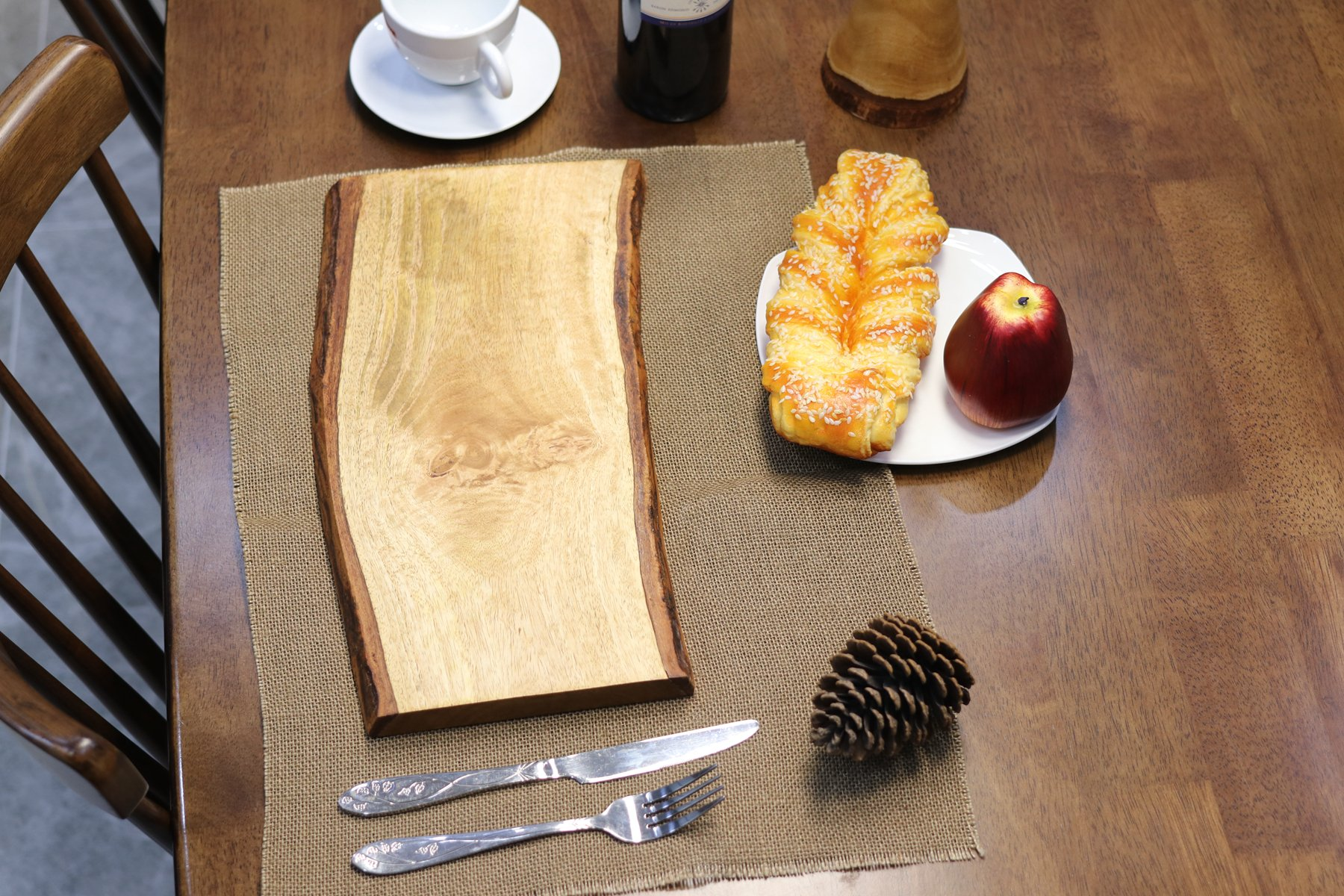 MOONSTONE Wood Cutting Board Natural Solid Wood Hand Crafted, Food Serving Cheese Pizza Plate ,Decorative, Size 8''x15''x1.2'' Inch 2.2LB by MOONSTONE (Image #7)