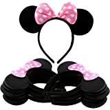 Cornucopia Brands Black Mouse Ear Headbands w/Pink Bows (12-Pack); Polka Dot Minnie Style Party Favors