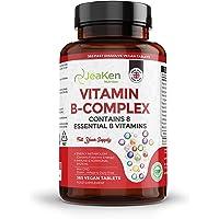 JeaKen - VITAMIN B COMPLEX HÖG STYRKA - 365 Vegan-tabletter - 1 års leverans- 8 essentiella höghållfasta B-vitaminer…