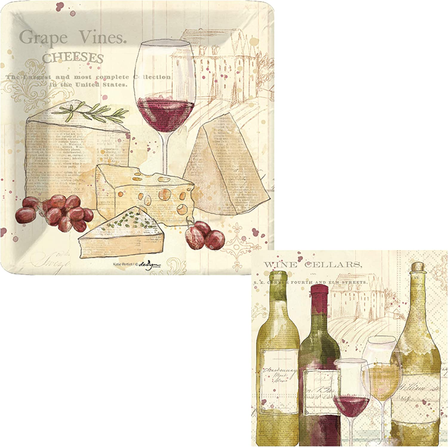 Wine Theme Party Supplies | Bundle Includes Square Paper Dessert Plates & Napkins for 16 People | Wine & Cheese Vintage Themed Design
