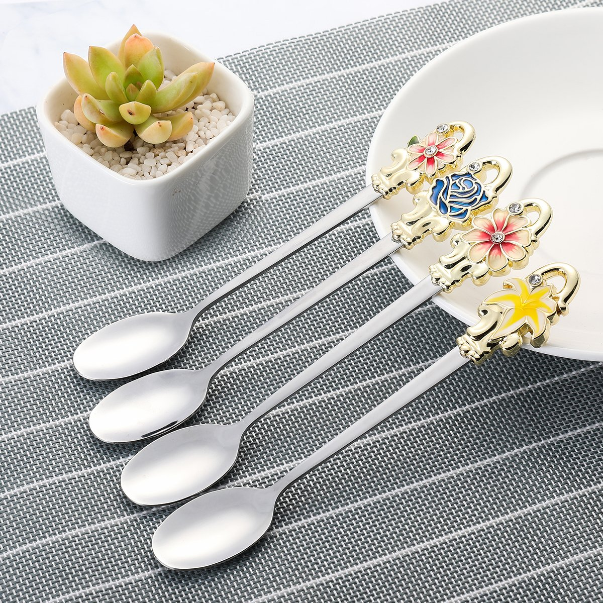 Long Handle Iced Tea Spoon, Coffee Spoon, Ice Cream Spoon, Stainless Steel Cocktail Stirring Spoons, Set of 4- Perfect Gift for Mother's Day