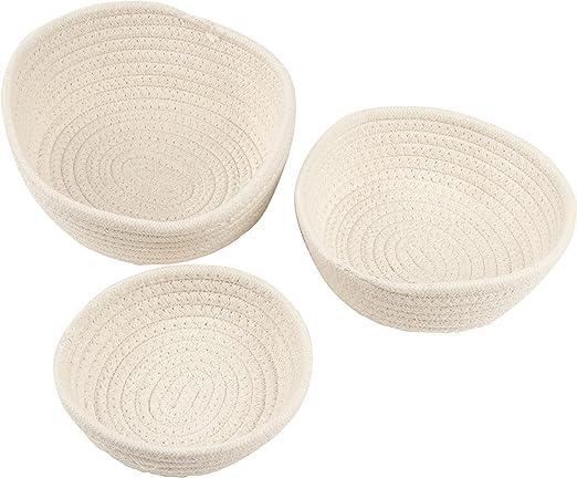 Juvale Cestas de Almacenamiento Tejidas: cestas de Cuerda de algodón, cestas Decorativas, contenedores Plegables de Almacenamiento de Cuerda para Juguetes Paquete de 3 Blanco: Amazon.es: Hogar