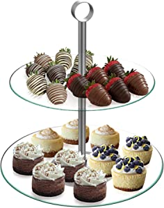 Dessert Tower-Two Tier, Round Glass Display Stand for Cookies, Cupcakes, Pastries, Hors d'oeuvres and Appetizers-Great for Parties by Chef Buddy