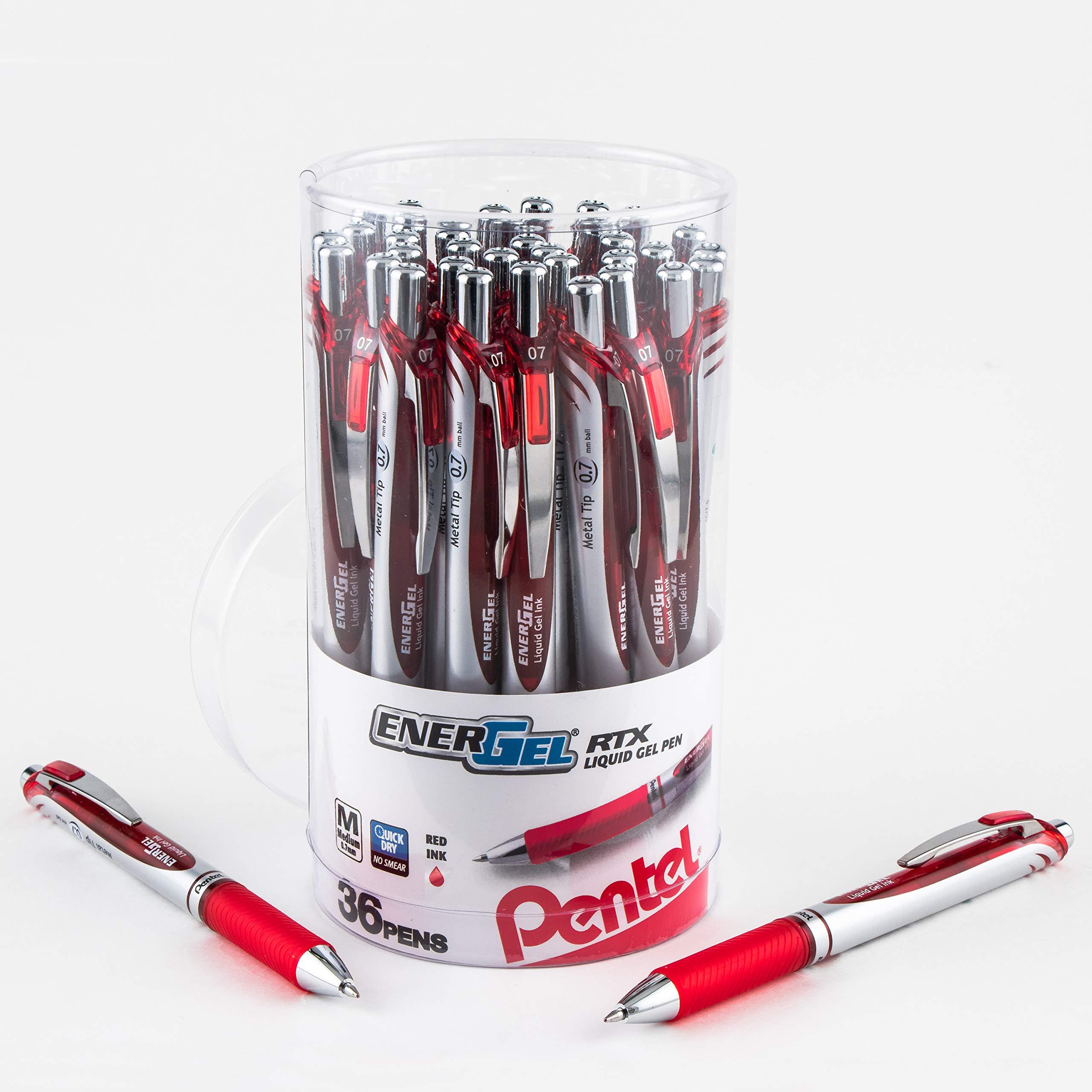 Pentel EnerGel RTX Retractable Liquid Gel Pen Canister, Red Ink, 36pk (BL77PC36B) by Pentel (Image #1)