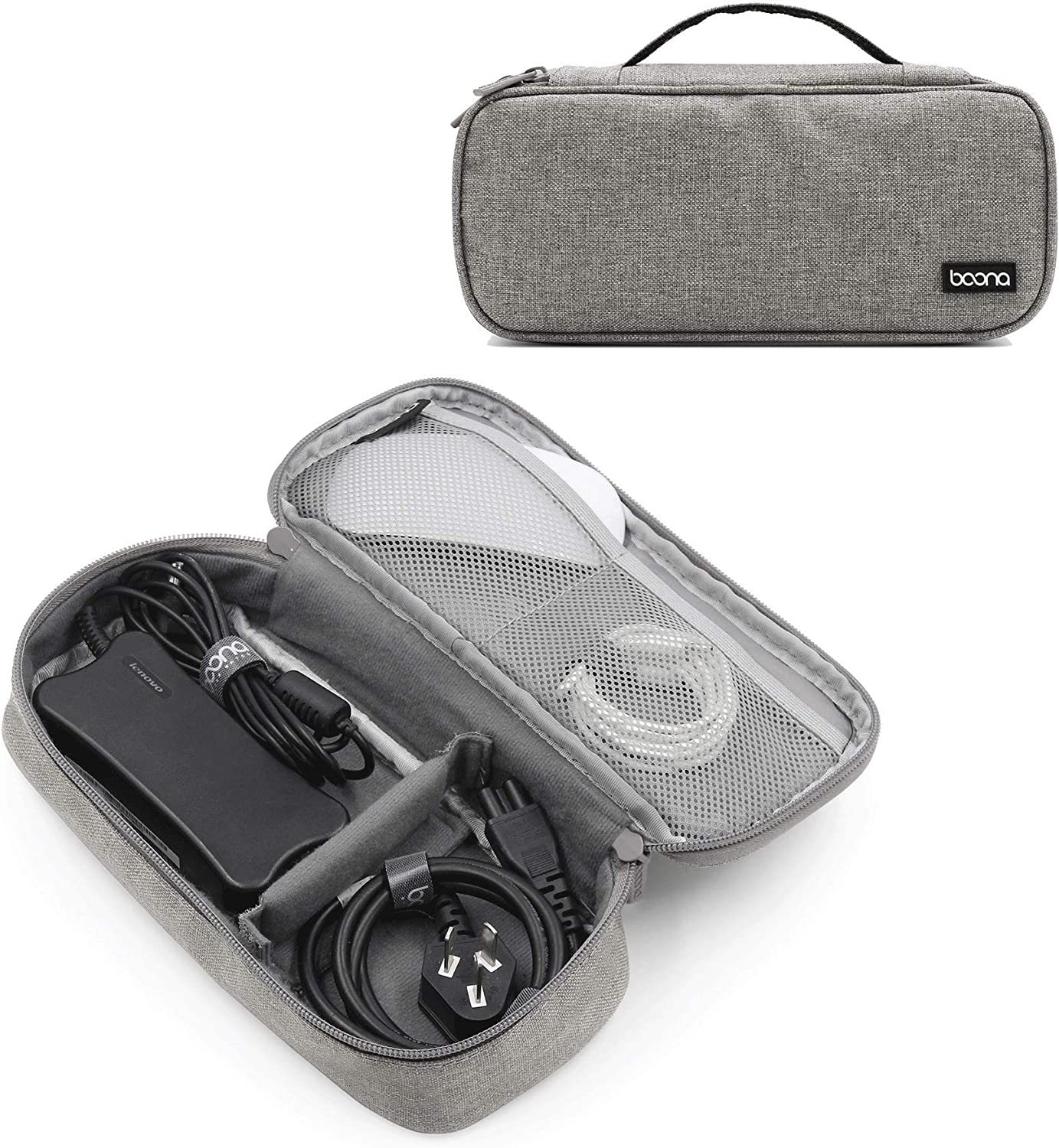 BOONA Laptop AC Adapter Charger Cable Storage Bag Shockproof Waterproof Travel Organizer for Power Cord, Mouse Line and Other Accessories,Single Layer (Gray)