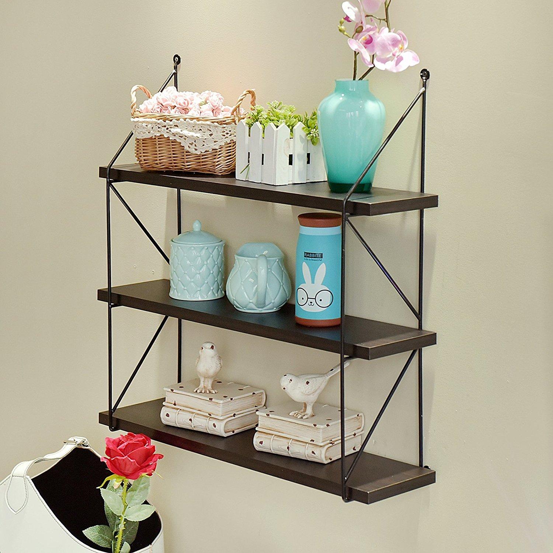 WELLAND 3-Tier Display Wall Shelf Storage Rack Wall Rack Holder Rack, Espresso