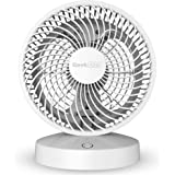 Geek Aire, 8 Inch Rechargeable Air Circulator Fan with WiFi and Voice Control with 5000 mAh Li-ion Battery upto 6 Hours Run Time, 4 Speed Option (White)
