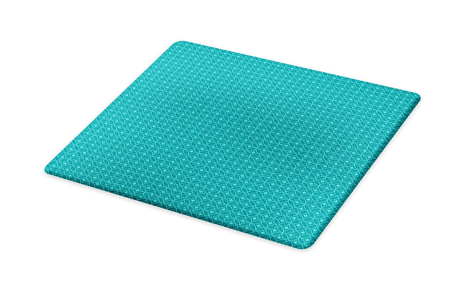 Lunarable Geometric Cutting Board, Traditional Rhombuses and Intertwined Circles Pattern Classic Art Design, Decorative Tempered Glass Cutting and Serving Board, Large Size, Teal and Turquoise