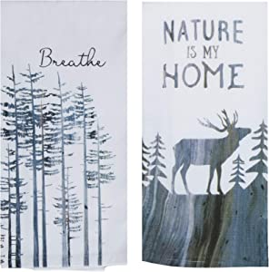 Nature Themed Kitchen Towels | Bundled Set of 2 Dish Towels | Tranquility Lodge Designs | Nature is Home - Breathe | Kay Dee Designs