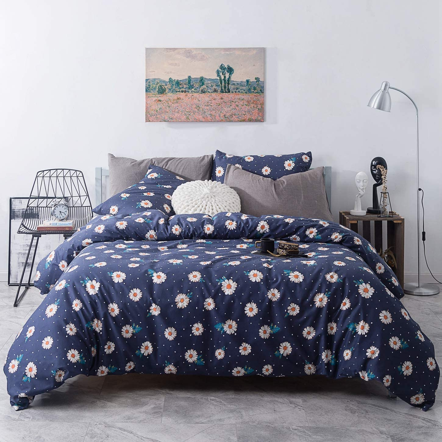 SUSYBAO 3 Pieces Duvet Cover Set 100% Natural Cotton Navy Queen Size White Floral Pattern Bedding Set with Zipper Ties 1 Dots Print Duvet Cover 2 Pillowcases Hotel Quality Soft Breathable Lightweight