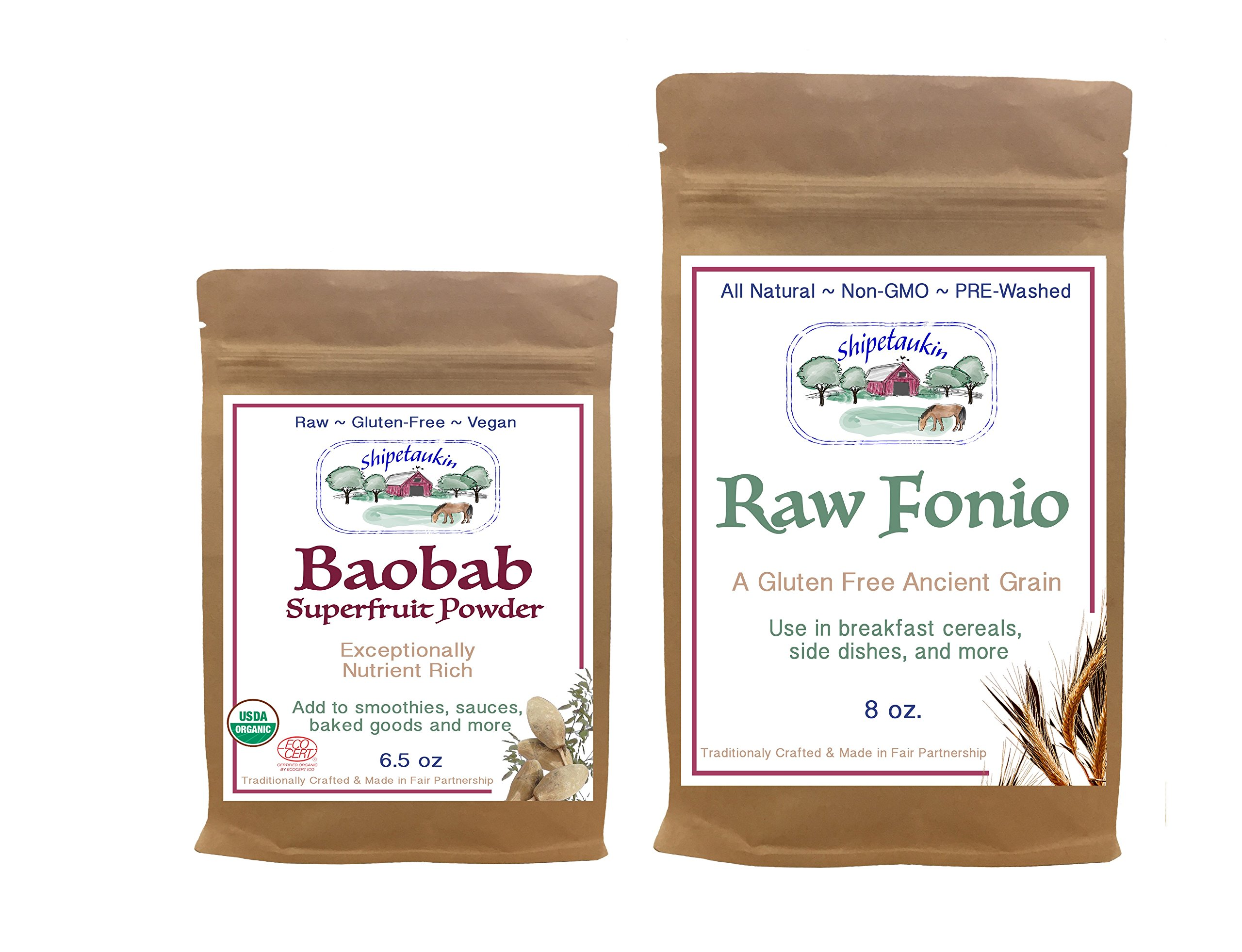 Shipetaukin Flavors of Africa Sampler Bundle: (1) Raw Fonio Ancient African Gluten Free Grain (8 Ounces), and (1) Baobab Superfruit Smoothie and Sauce Thickening Powder (6.5 Ounces)