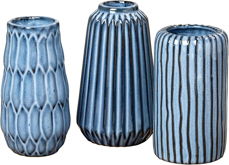 CasaJame Lot de 2 vases d/écoratifs en gr/ès Noir Hauteur 12 cm Diam/ètre 6,5 cm