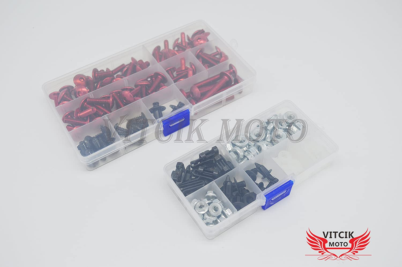 clip in alluminio CNC Verde VITCIK Kit completo di carenatura viti bulloni per ZX6R ZX-6R Ninja 636 2003 2004 03 04 Serraggio per moto