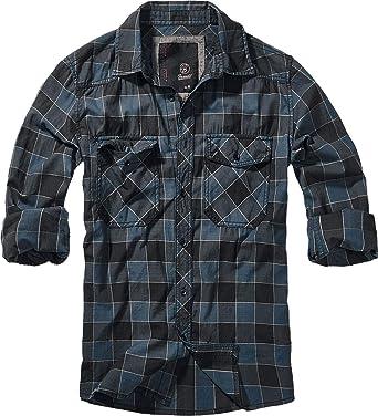 Brandit Camisa a Cuadros Hombre Manga Larga Azul/Gris/Negro, [Effekte/Besonderheiten] + Regular: Amazon.es: Ropa y accesorios