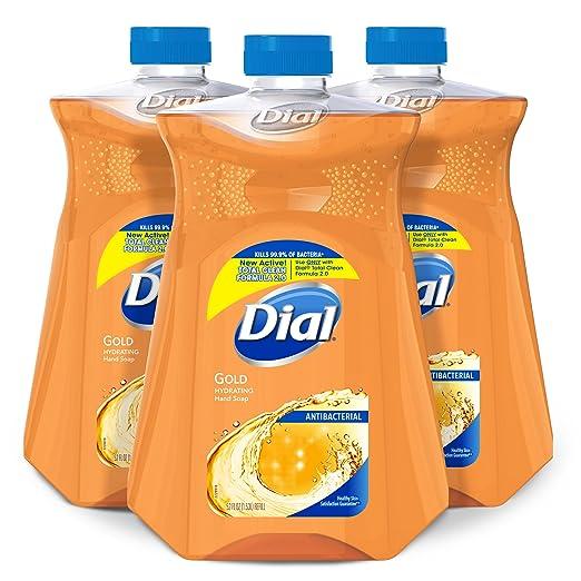 Dial Antibacterial Liquid Hand Soap Refill, Gold, 52 Fluid oz (Pack of 3)