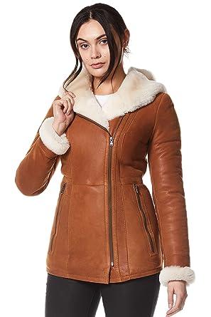 5269007ee2 Katniss Everdeen Ladies Real Leather Shearling Sheepskin Jacket Short  Fitted Chestnut Biker Style Nv-39