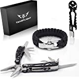 Father's Day Gift for Dad - Multi Tool Survival Gear Kit - Gadgets for Men | EDC Gift Set w/Paracord Bracelet + Multitool + Keychain Bottle Opener, Christmas Stocking Stuffer