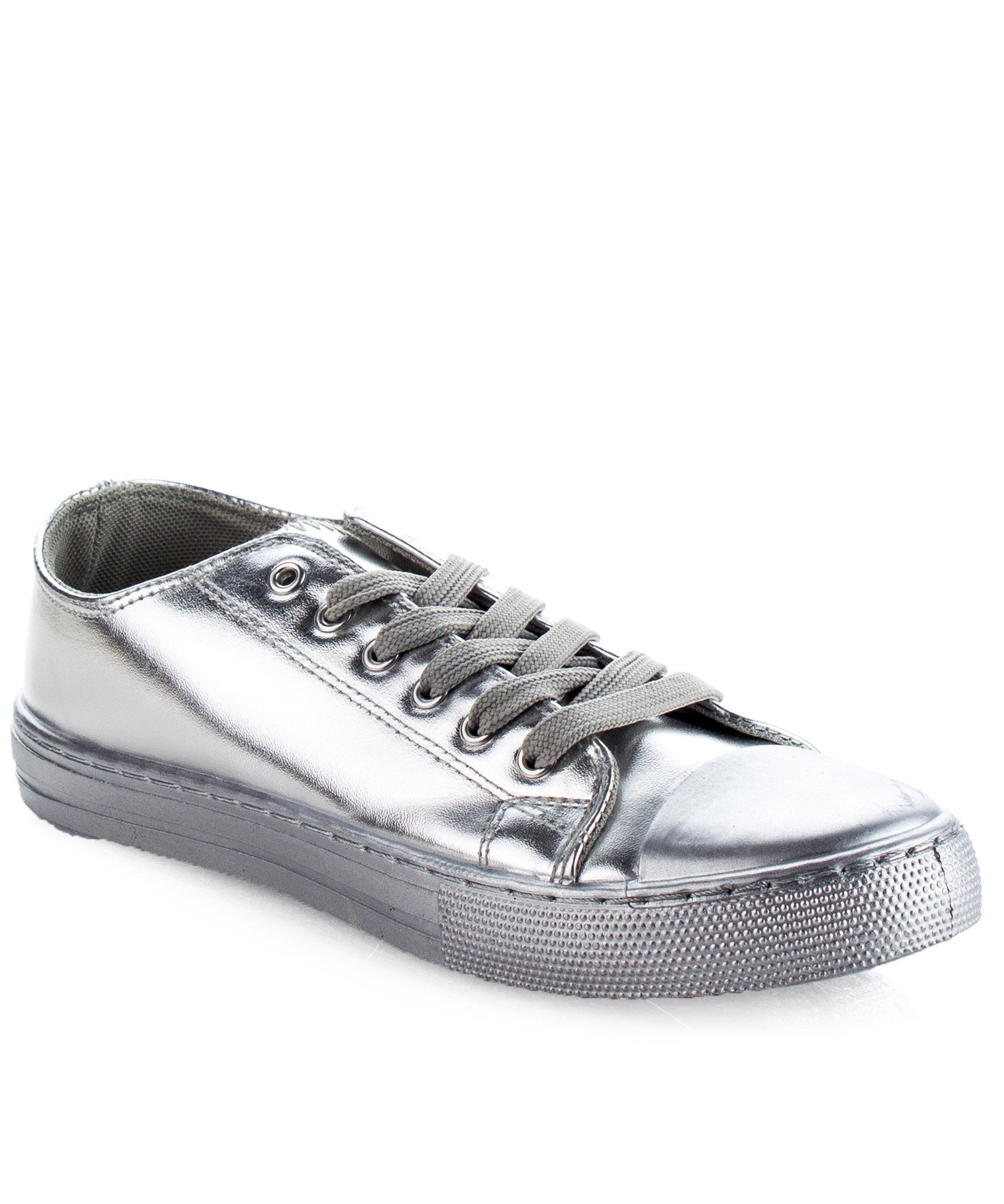 RF ROOM OF FASHION Women's Metallic Low Top Lace Up Fashion Sneakers Silver (7)