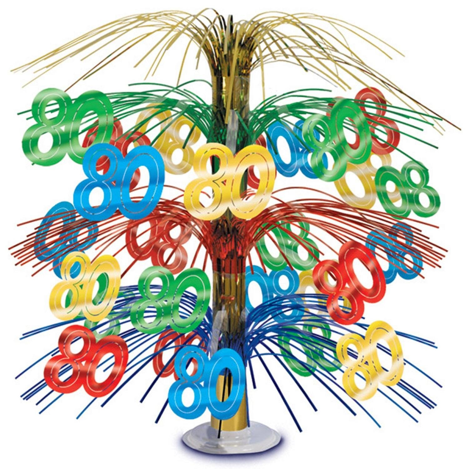 Pack of 6 Multi-Colored Happy ''80th'' Birthday Party Cascading Table Centerpieces 18''