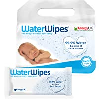 WaterWipes Sensitive Baby Wipes - Pack of 4 Pouches x 60 Sheets, 240 Wipes