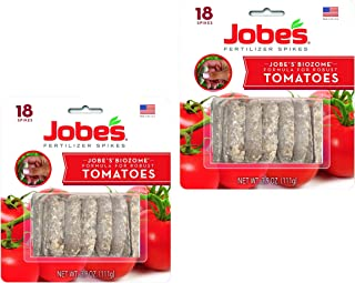 product image for Jobe's Tomato Fertilizer Spikes, 6-18-6 Time Release Fertilizer for All Tomato Plants, 18 Spikes per Blister, Pack of 2 Blisters