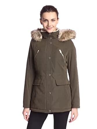 Amazon.com: Nautica Women's Parka with Sherpa Lining and Faux Fur ...